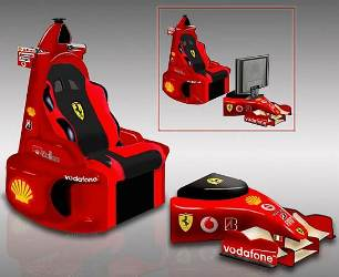 Sedia e poggiapiedi rosso Ferrari