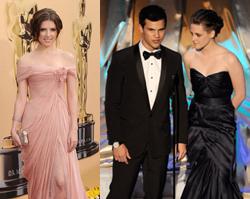 Kristen Stewart, Taylor Lautner e Anna Kendrick alla notte degli Oscar, foto e video