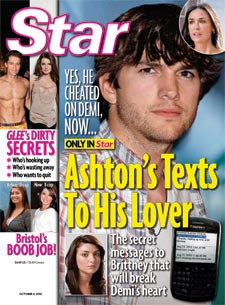 Gli SMS di Ashton Kutcher all'amante Brittney Jones
