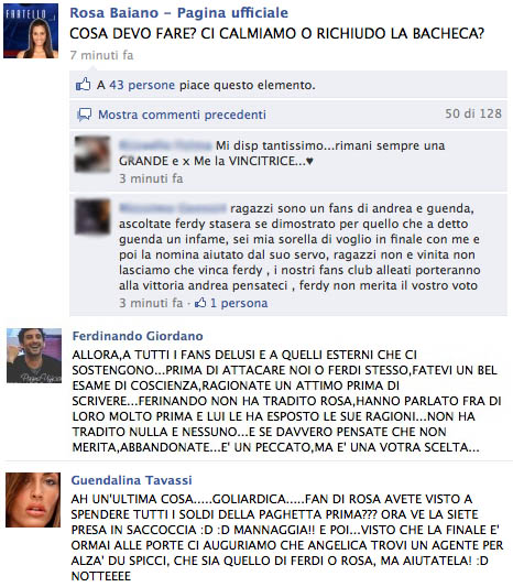 Facebook, reazioni all'eliminazione di Rosa Baiano