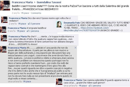 Francesca Giaccari sulla fanpage di Guendalina Tavassi