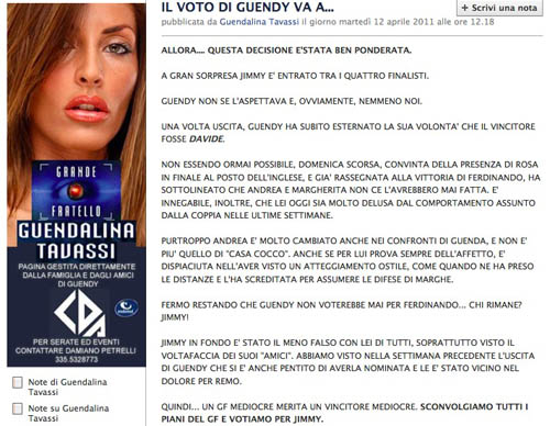 Guendalina Tavassi vota Jimmy Barba