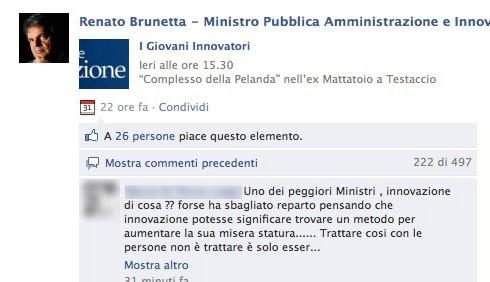 Renato Brunetta sotto assedio su Facebook