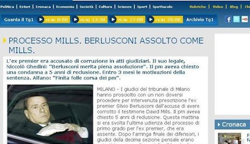 Il TG1 assolve Silvio Berlusconi di nuovo