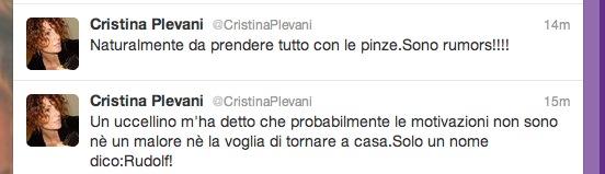 Cristina Plevani e l'assenza di Ilenia Pastorelli