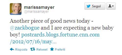Mariss Mayer - tweet gravidanza
