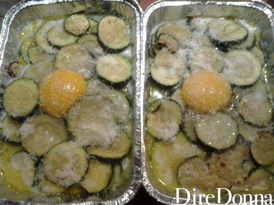 Parmigiano, uovo, zucchine e mozzarella