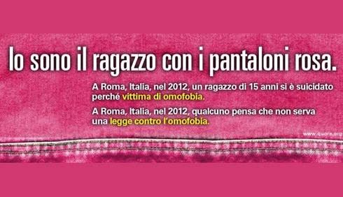 L'Italia in rosa contro l'omofobia e il bullismo