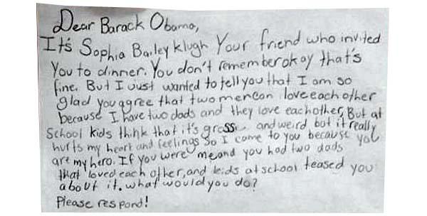 lettera Obama figlia di due padri