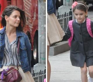 Katie Holmes e Suri Cruise in completo da scuola