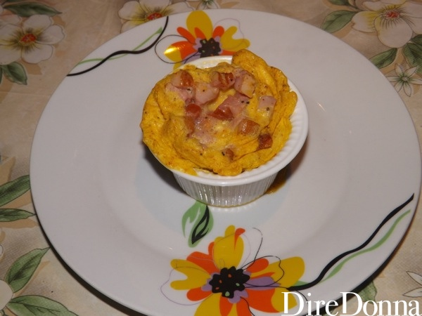 uovo curry e pancetta tolto dal forno