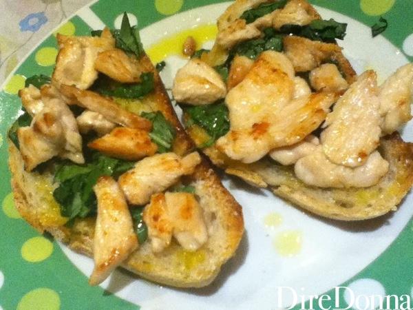 Bruschette di pollo, ricetta pronta