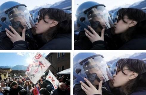 Ragazza no Tav bacia poliziotto: da Miley Cyrus alla pace, le interpretazioni della nostra stampa
