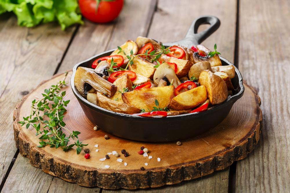 patate in padella con funghi