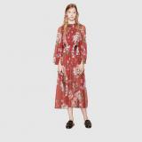 Gucci: abito plissé in seta con stampa blooms