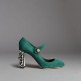 Dolce&Gabbana: Mary Jane in suede con tacco gioiello