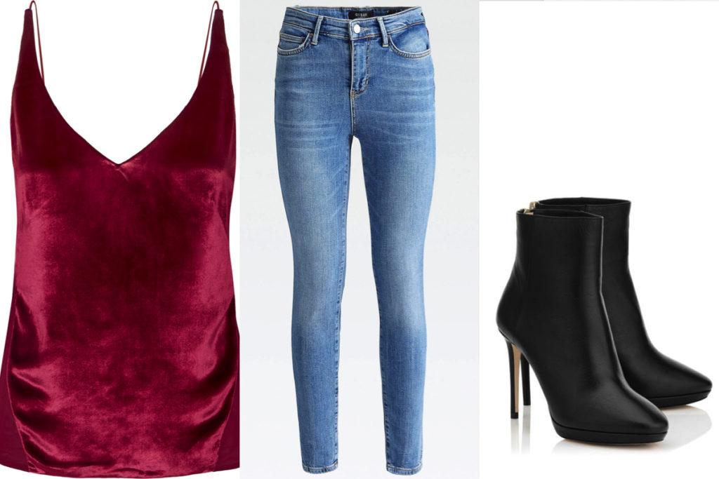 Top di seta rosso ciliegia, jeans e ankle boot nero
