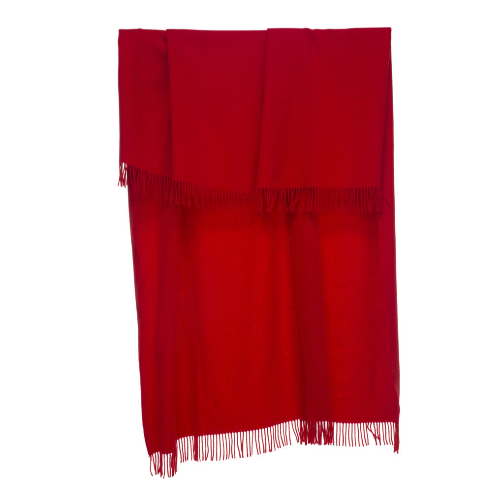 Coperta di lana merinos rossa