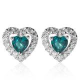 Diamonique, Orecchini cuore in argento con smeraldo sintetico (79,84 euro)