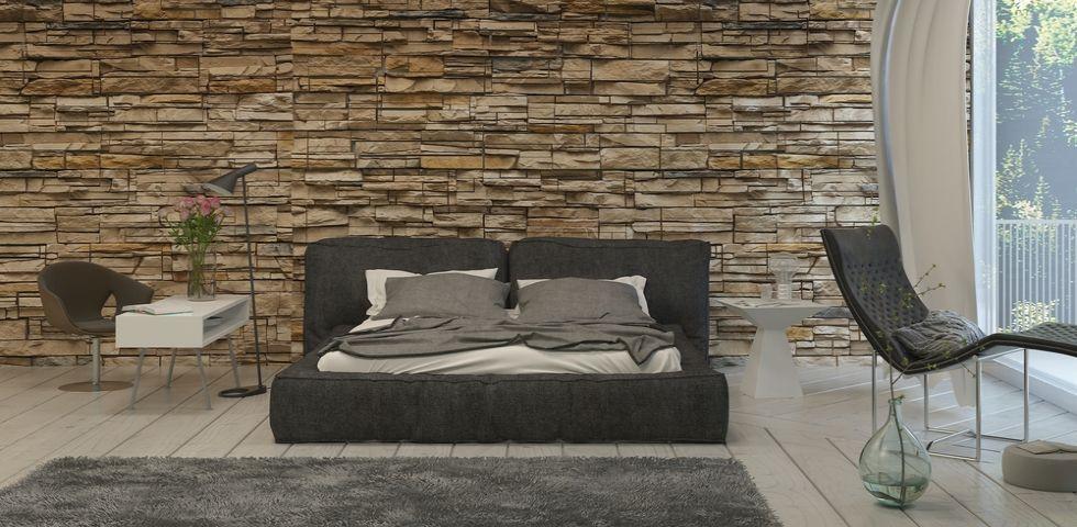Parete camera da letto in pietra stili e soluzioni diredonna - Parete grigia camera da letto ...