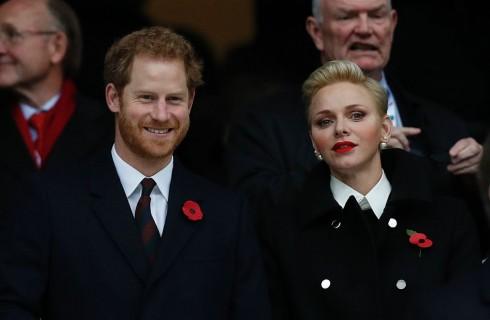 Charlene di Monaco alla partita di rugby con il Principe Harry