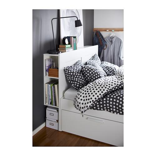 Ikea  BRIMNES Struttura letto contenitore con testiera, bianco, Luröy € 286