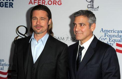 Brad Pitt contento di incontrare George Clooney dopo la nascita dei gemelli