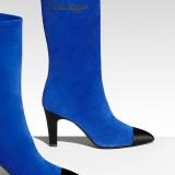 Chanel Boot in suede blu royal e nero