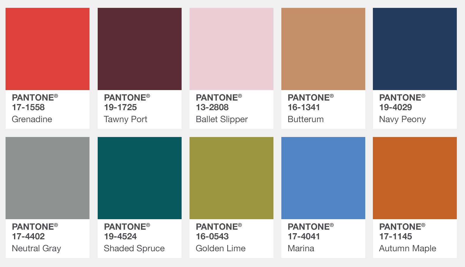 I 10 colori Pantone dell'autunno 2017, le foto
