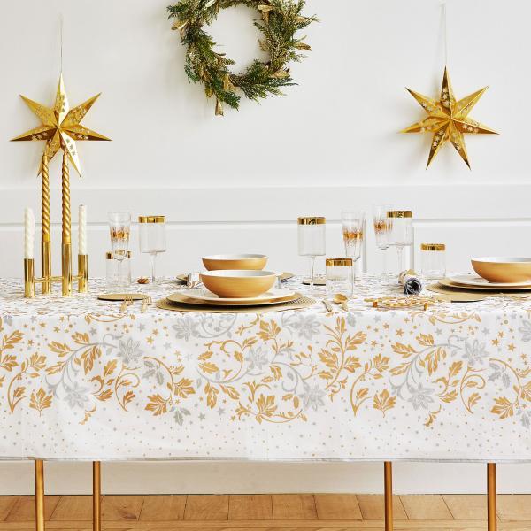 Tovaglia Zara Home con foglie oro e argento da 29,99 euro