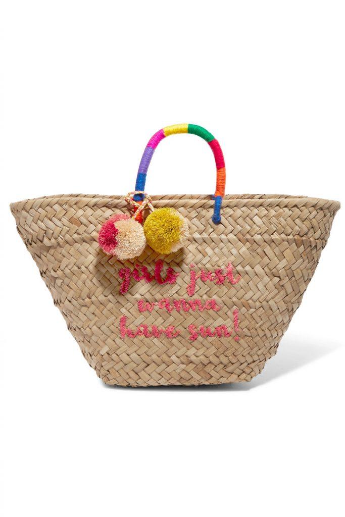 f19adcad2736a Kayu Borsa in paglia con scritta Girls Just Wanna Have Sun! ricamata con  manici di fili color arcobaleno