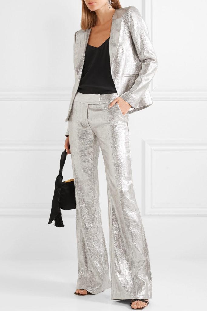 Tailleur pantalone argentato di Rachel Zoe