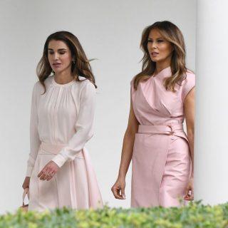 Melania Trump e Rania di Giordania: pomeriggio in rosa