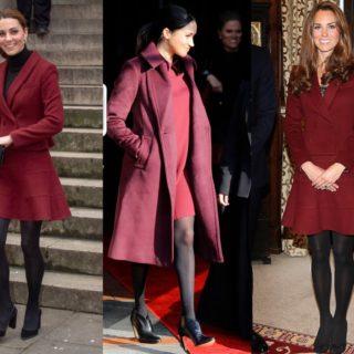 Kate e Meghan gemelle di stile in bordeaux