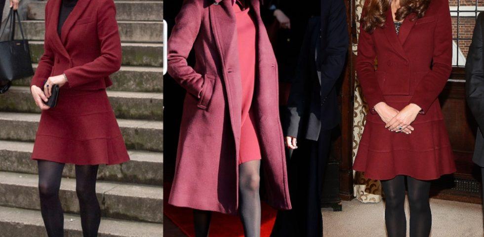Kate Middleton e Meghan Markle gemelle di stile con abito corto bordeaux
