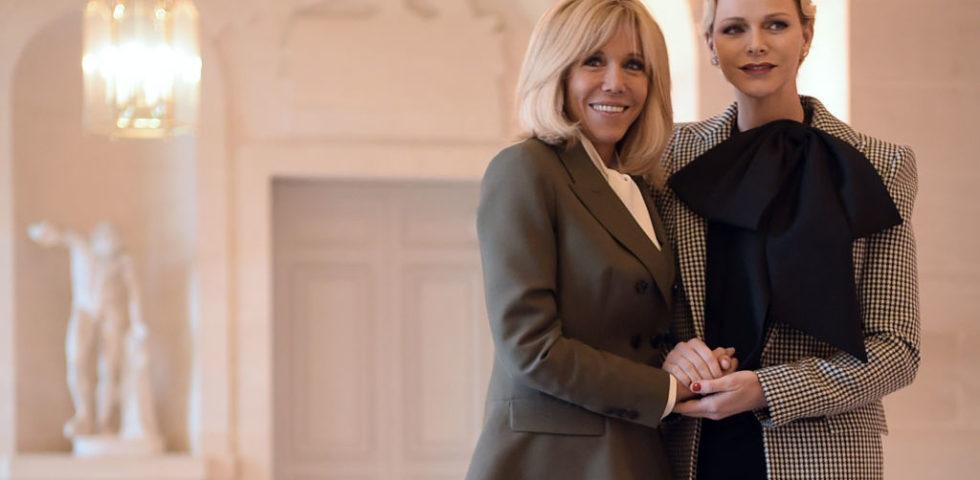 Charlene di Monaco con i gemellini all'Eliseo da Brigitte Macron (foto)