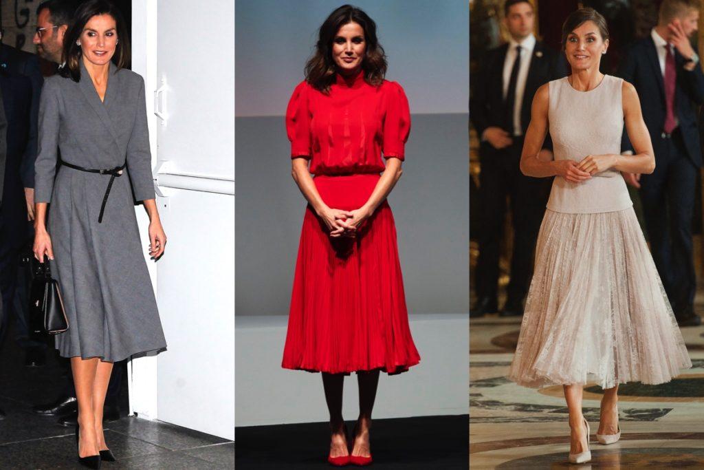 Tre immagini di Letizia Ortiz, in abito grigio, in outfit rosso e completo color avorio.