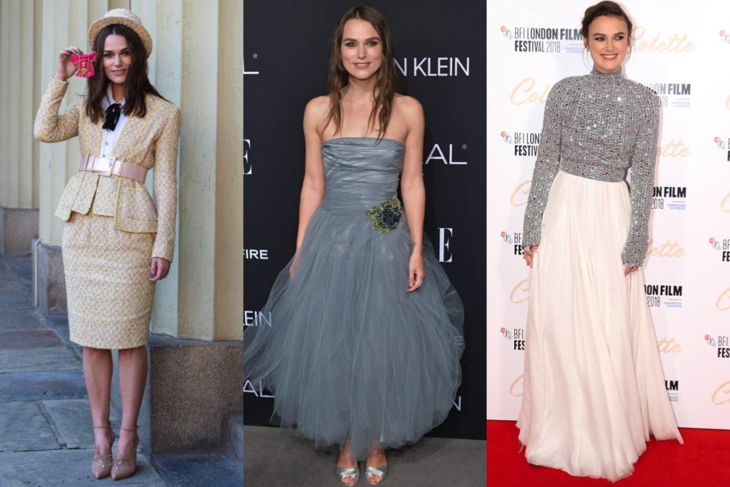 Tailleur Chanel, abito grigio e creazione preziosa in argento sempre di Chanel per i tre look di Keira Knightley