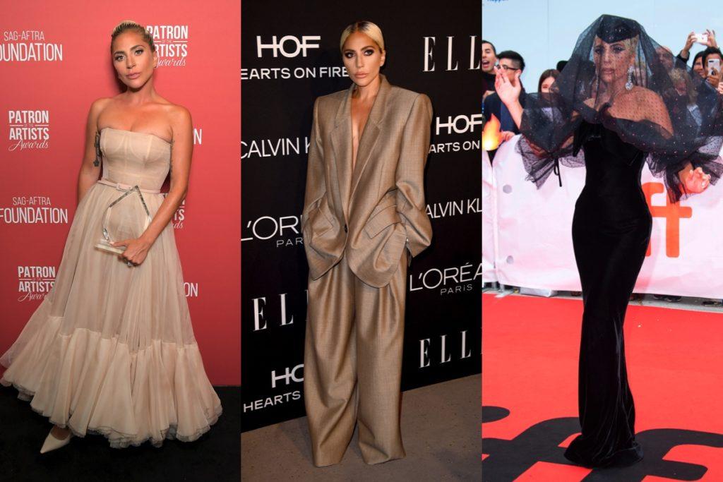 Lady Gaga in abito Dior, suit oversize di Marc Jacobs e abito Giorgio Armani Privé