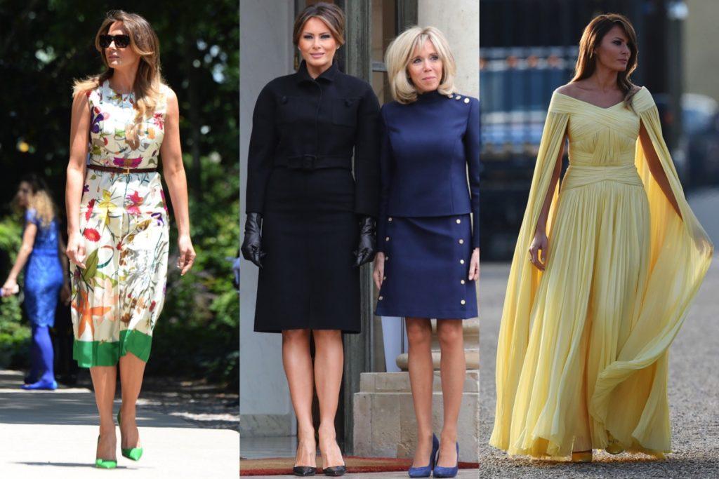 La first lady americana in abito di Gucci, in Bottega Veneta accanto a Brigitte Macron e in chiffon giallo di J. Mendel
