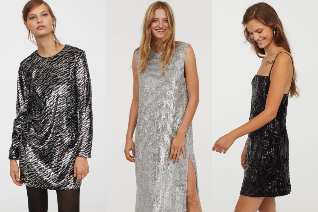 Tre vestiti con le paillettes di H&M