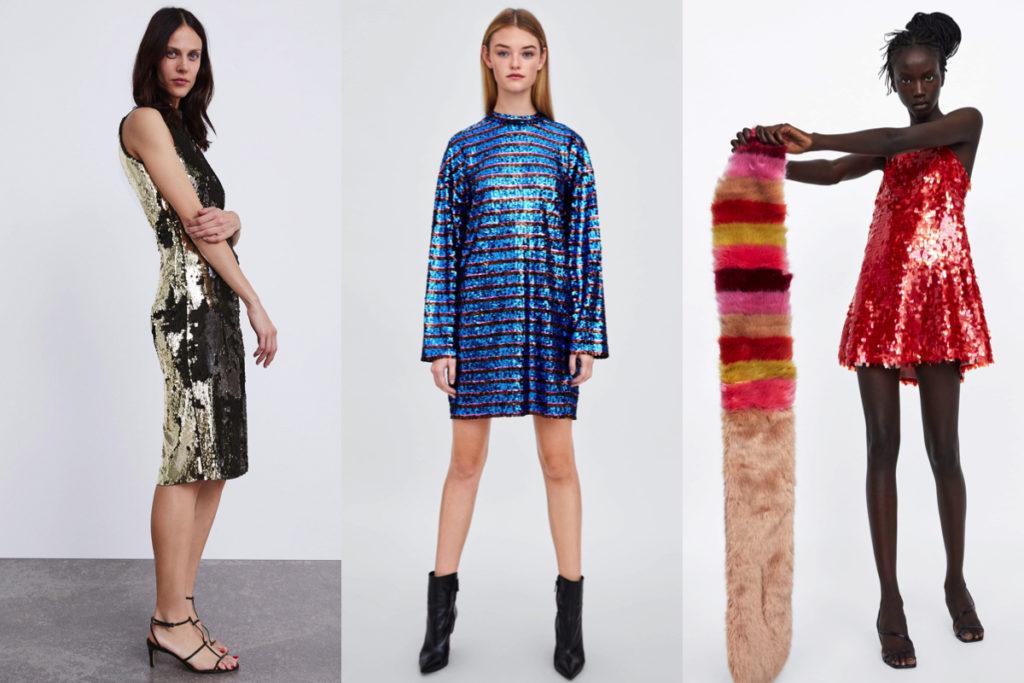 Tre vestiti con paillettes di Zara