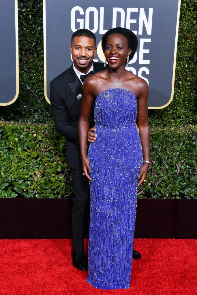 Michael B. Jordan e Lupita Nyong'o sul reda carpet dei Golden Globe 2019