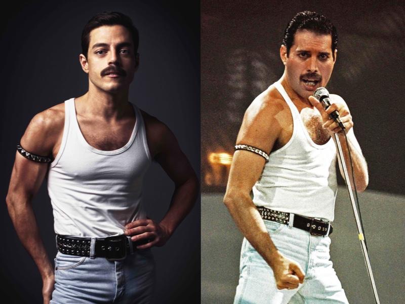 Due immagini, di Rami Malek nel film Bohemian Rapsody, e di Freddie Mercury durante un concerto