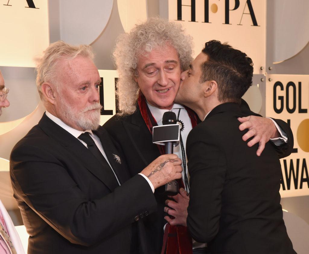 Roger Taylor e Brian May dei Queen e Rami Malek nel backstage dei Golden Globe 2019
