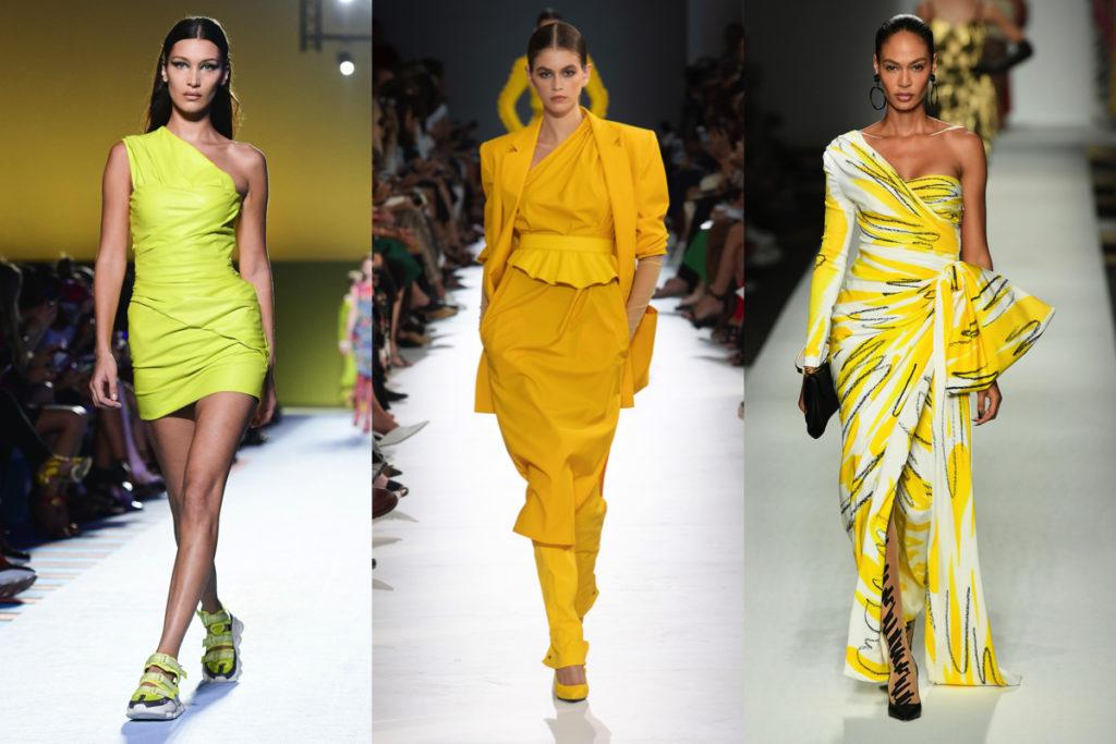 Tre immagini dalle passerelle in color giallo