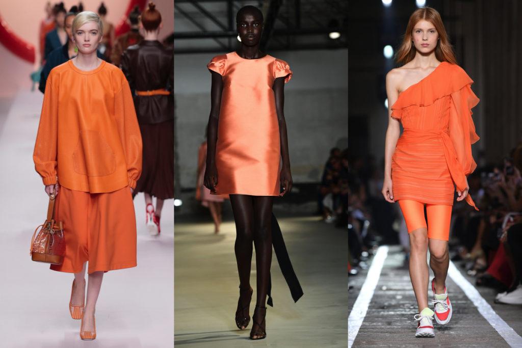 Tre immagini di look arancioni dalle passerelle della Primavera-Estate 2019