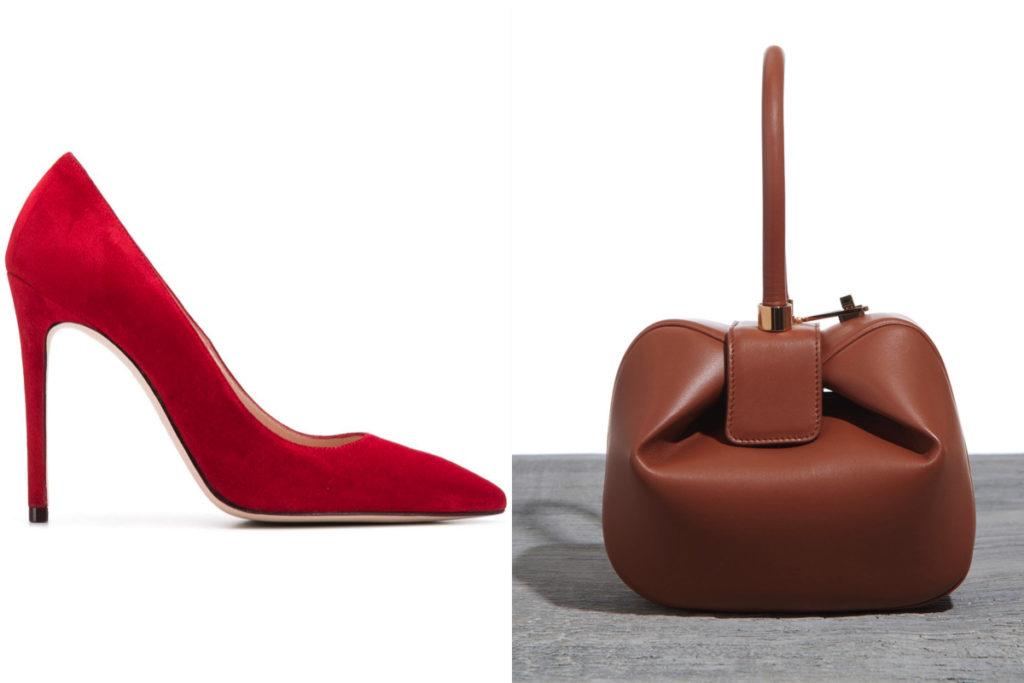 Scarpe rosse di Stuart Weitzman e Nina Bag di Gabriela Hearst