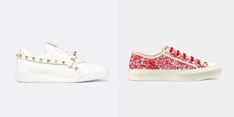 Sneakers di nappa bianca di Valentino Garavani e di stoffa rossa di Dior