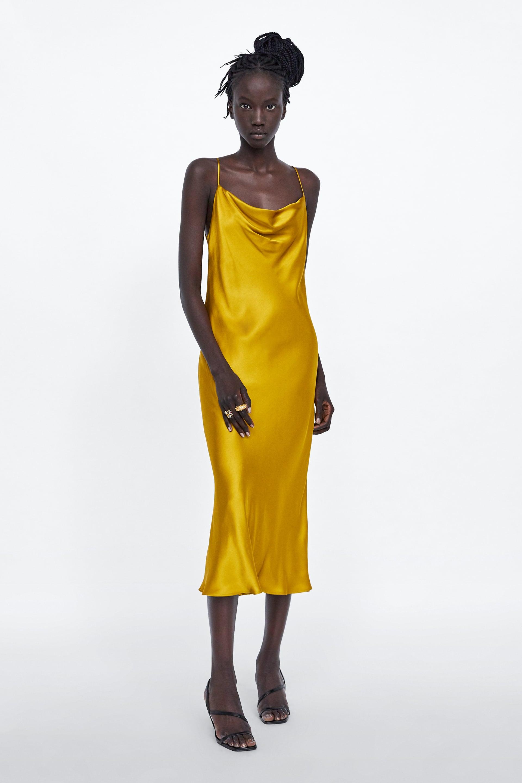 Vestito a sottoveste senape di Zara